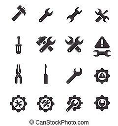 werkzeug, ikone, satz