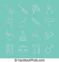 werkzeug, linie, ikone, satz