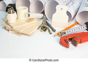 werkzeuge, brötchen, zeichnung, hardware, materialien, haushaltsgerã¤te, baugewerbe, zusammensetzung