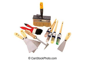 Maler und lackierer werkzeuge  Maler, werkzeug, schaber.