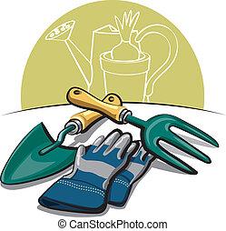 werkzeuge, handschuhe, gartenarbeit