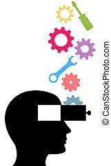 werkzeuge, idee, person, erfindung, zahnräder, technologie,...