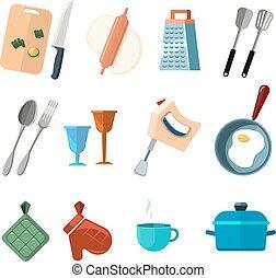 werkzeuge, satz, heiligenbilder, weinlese, kochen, vektor, haupt küche