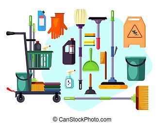 werkzeuge, satz, reinigenden zubehör