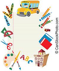 werkzeuge, schule, supplies., zurück