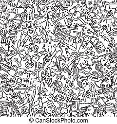 werkzeuge, seamless, muster, in, schwarz weiß