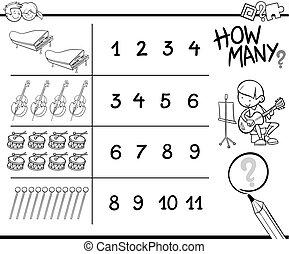 werkzeuge, spiel, färbung, zählen, gegenstände