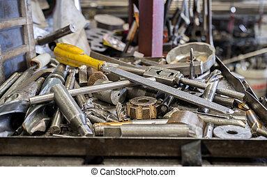 werkzeuge, tablett, metall, hintergrund, unordung