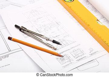 werkzeuge, und, papiere, mit, skizzen