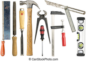 werkzeuge, weißes, freigestellt, sammlung, zimmermann