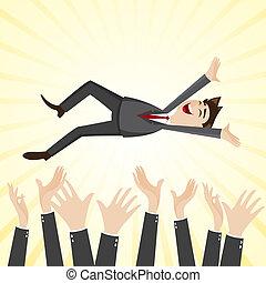 werpen, teammate, op, hand, zakenman, spotprent, geluk