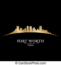 wert, schwarzer hintergrund, skyline, fort, stadt, silhouette, texas