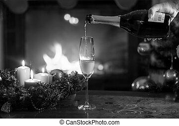 wesen, bild, flöte, closeup, flasche, schwarz, weißes, champagner, weihnachten, gefüllt