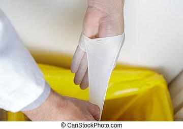 wesen, chirurgisch, entfernt, handschuhe