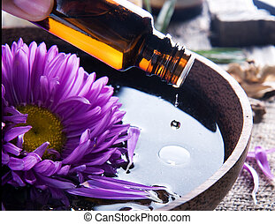 wesentlich, aromatherapy., behandlung, oil., spa