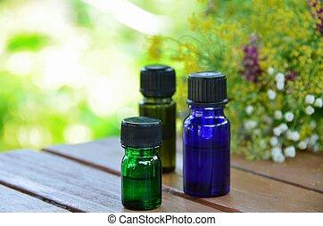 wesentliche öle, für, aromatherapy