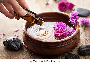 wesentliches öl, für, aromatherapy