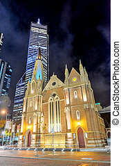 Wesley Church, Perth, Australia at night, with the skyline...