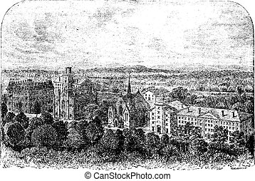 Wesleyan University in Middletown United States vintage engraving