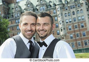 wesoła para, day., ich, poślubny portret, samiec, kochający