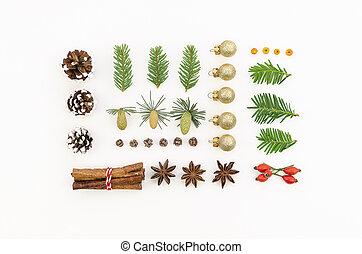 wesołe boże narodzenie, robiony, antena, rok, cynamon, próbka, stożki, white., zabawki, pojęcie, górny, drzewo, 2020, ozdoby, wizerunek, prospekt, wtyka, płaski, pieśń, upiększenia, nowy, gałązki, szczęśliwy