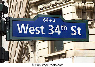 West 34th Street Sign in New York City