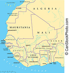 West Africa Map - Hand drawn map of West Africa with...