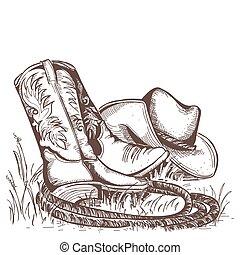 west, amerikaan, hat., laarzen, cowboy