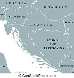 West Balkan countries political map with national borders....