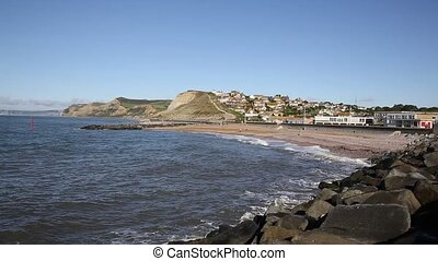 West Bay Dorset uk rocks sea waves - West Bay Dorset England...