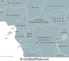 West Central Africa countries political map