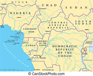 West Central Africa Political Map with capitals, national...
