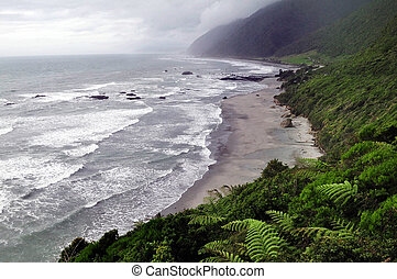 West Coast Beach New Zealand - A view of a rough west coast...