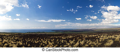 West coast of Big Island, Hawaii - Panorama of the West...