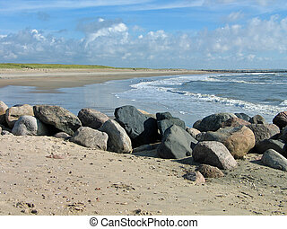 West coast of Denmark - Blavand in Denmark - sandy long ...