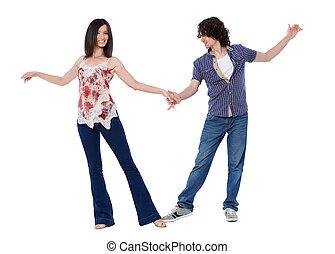 Social dance West Coast Swing. Demonstration of a dance pose.