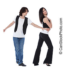 Social dance West Coast Swing. Demonstration of a stretch pose.