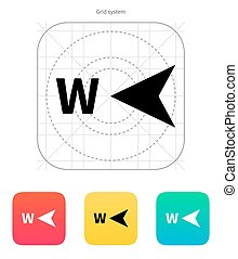 West direction compass icon. Vector illustration.