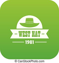 west hat icon green vector isolated on white background