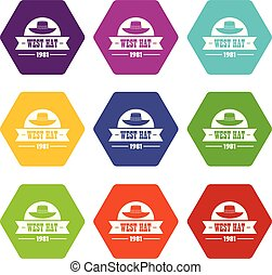 west hat icons set 9 vector - west hat icons 9 set coloful...