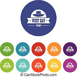 west hat icons set vector color - west hat icons color set...