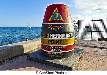 west, klee, punt, usa, teken, southernmost