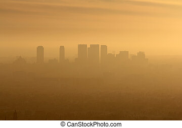 West LA Smog - Smoggy foggy afternoon in west Los Angeles,...