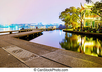 West Lake area at night