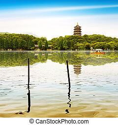 West Lake in Hangzhou, Zhejiang, China - hangzhou...