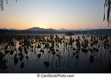 West Lake located at Hangzhou,China in the evening