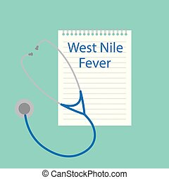 West Nile Fever written in a notebook- vector illustration