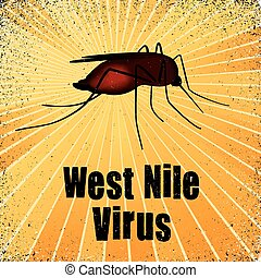 West Nile Virus, mosquito, graphic illustration, with gold ray grunge background. EPS8 compatible.