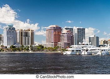 West Palm Beach, Florida. Panoramic city skyline on a beautiful sunny day