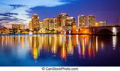 West Palm Beach, Florida Skyline and City Lights at  Night